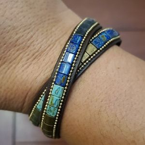 Leather & Patina double wrap bracelet